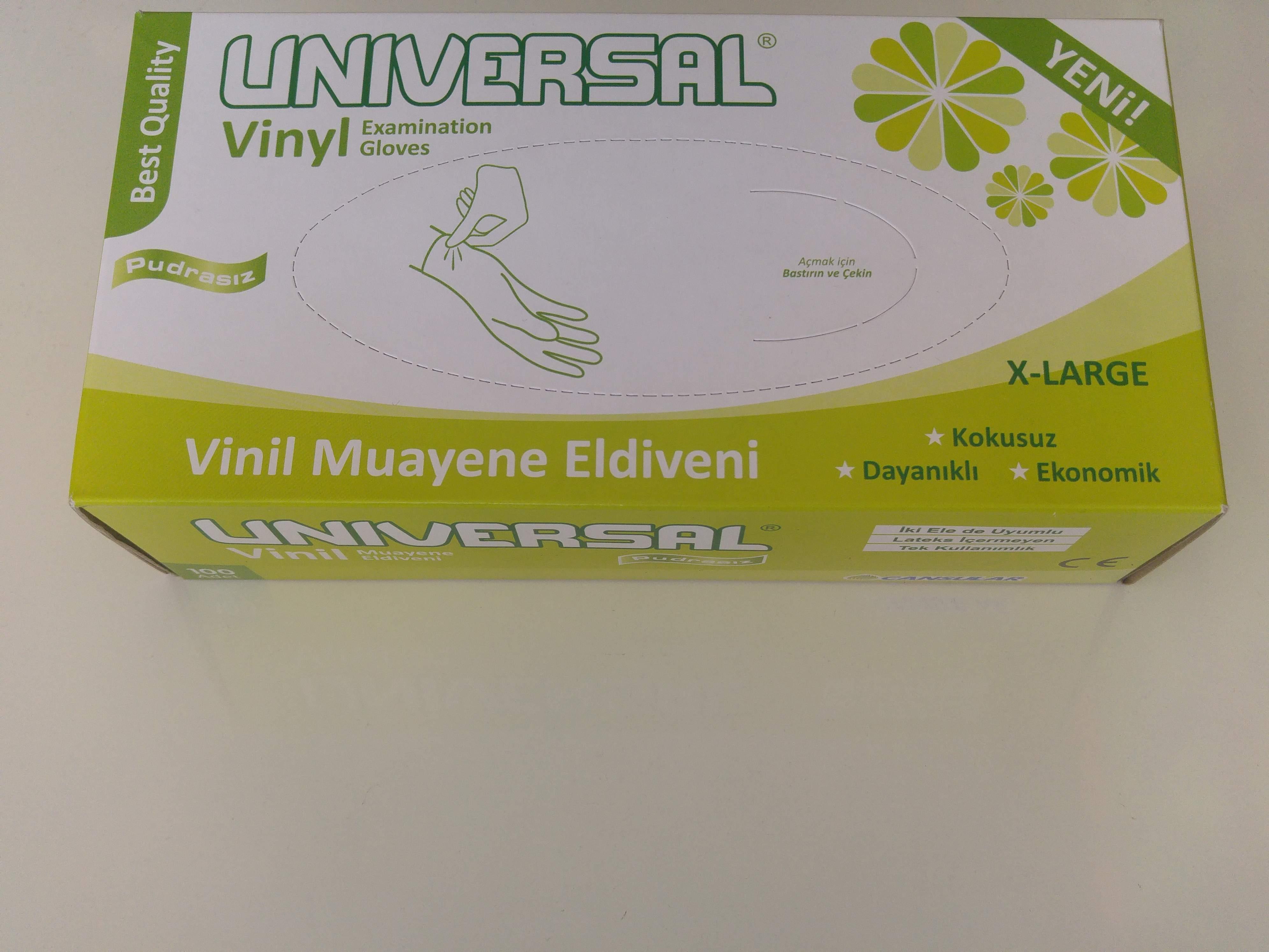 UNIVERSAL BEYAZ VİNİL MUAYENE ELDİVENİ PUDRASIZ (XL) 100'LÜ